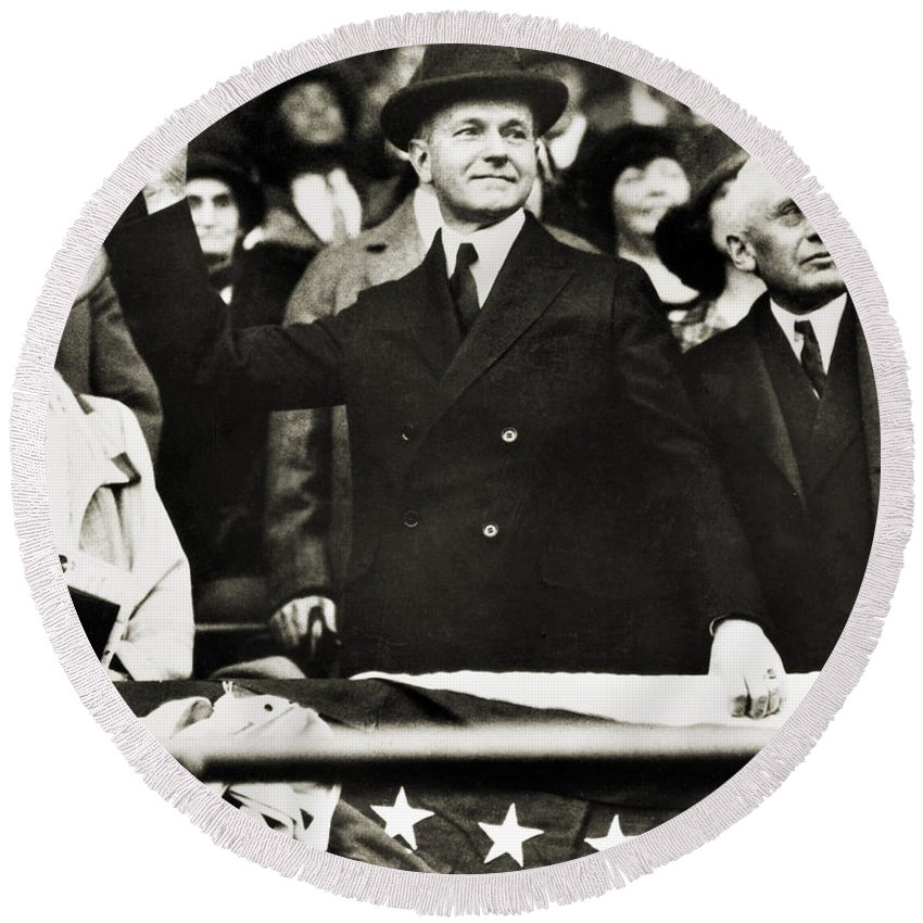 1920s Round Beach Towel featuring the photograph Calvin Coolidge (1872-1933) by Granger