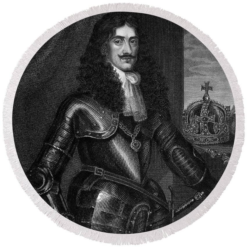 17th Century Round Beach Towel featuring the photograph Charles II (1630-1685) by Granger