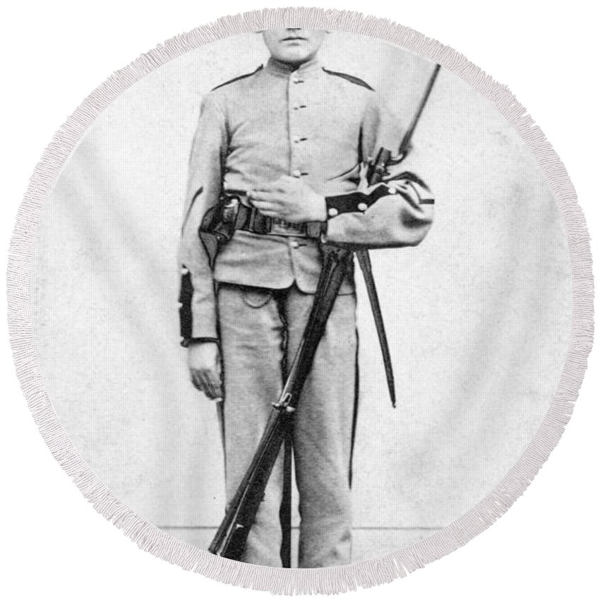 1863 Round Beach Towel featuring the photograph Civil War Soldier by Granger