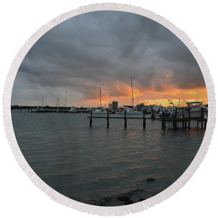 Lake Worth Round Beach Towel featuring the photograph 4-lake Worth by Joseph Keane