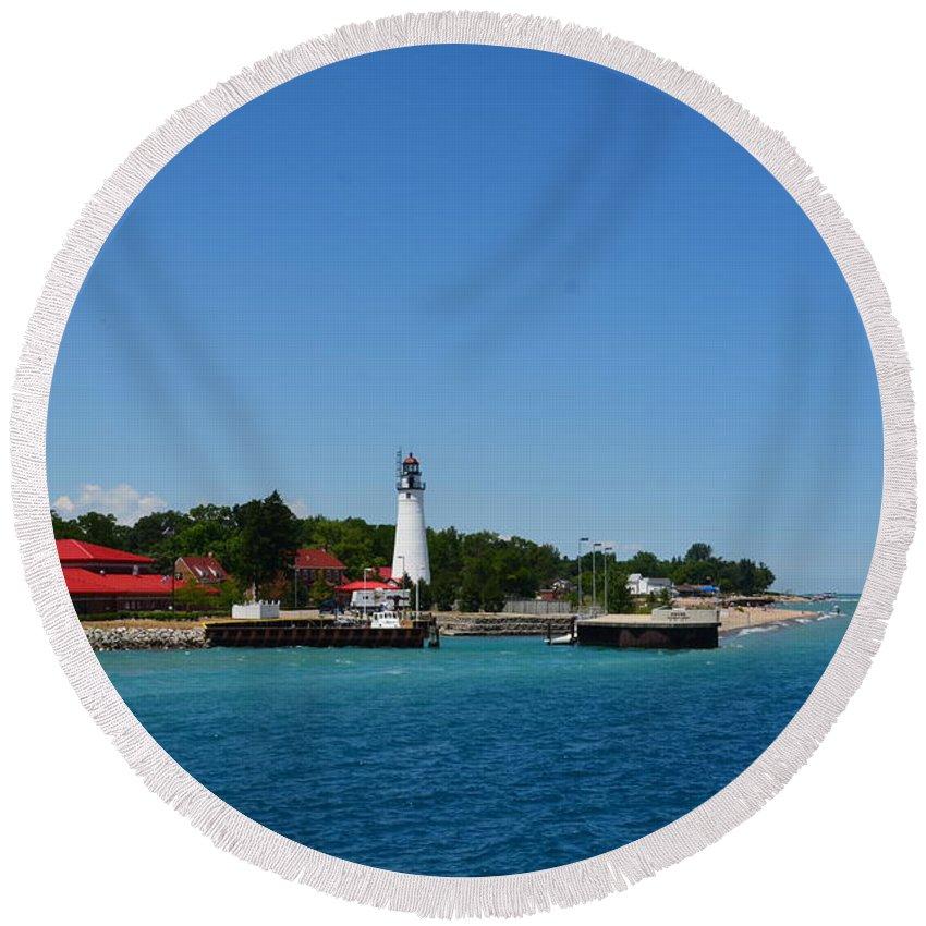 Light House Round Beach Towel featuring the photograph Lighthouse by Randy J Heath