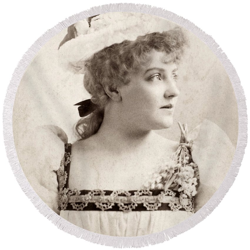 1891 Round Beach Towel featuring the photograph Lillian Russell (1861-1922) by Granger