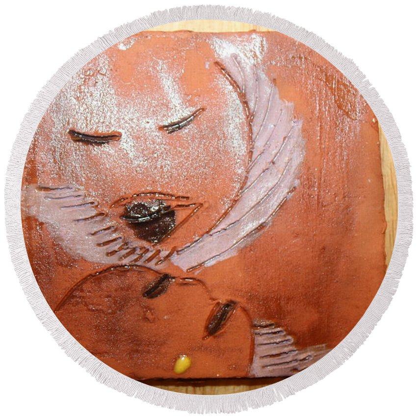 Jesus Round Beach Towel featuring the ceramic art Mama - Tile by Gloria Ssali