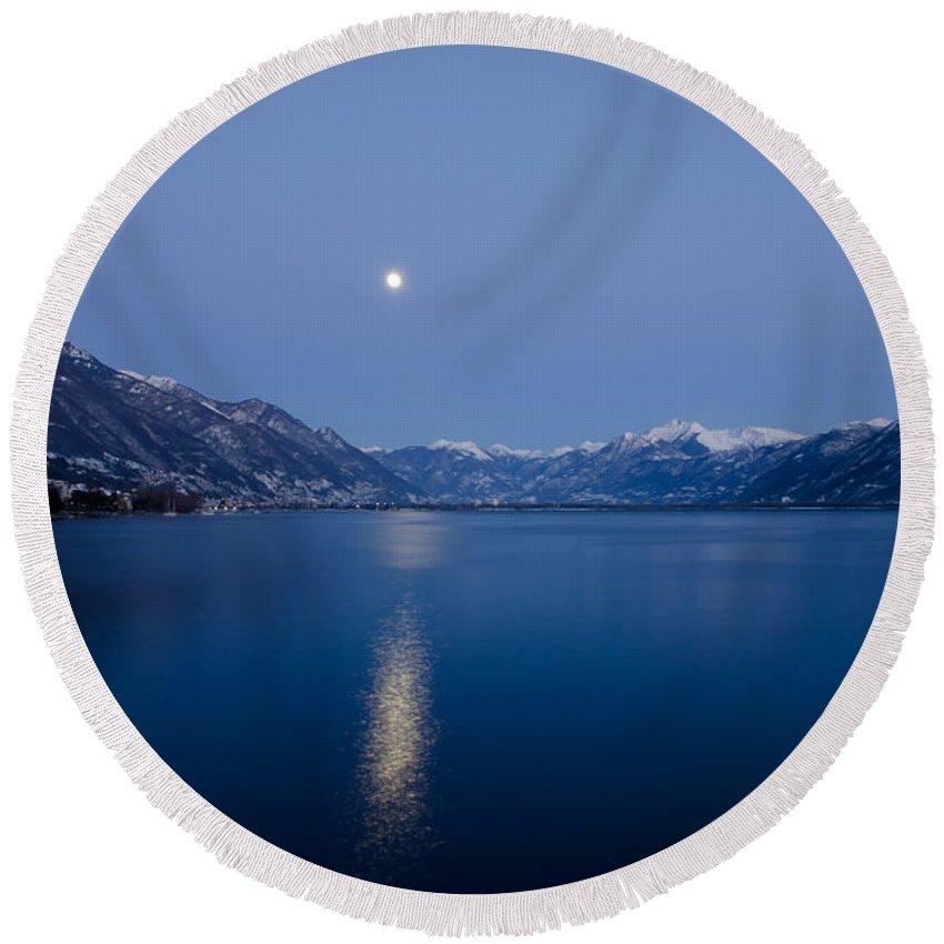 Moon Light Round Beach Towel featuring the photograph Moon Light Over An Alpine Lake by Mats Silvan