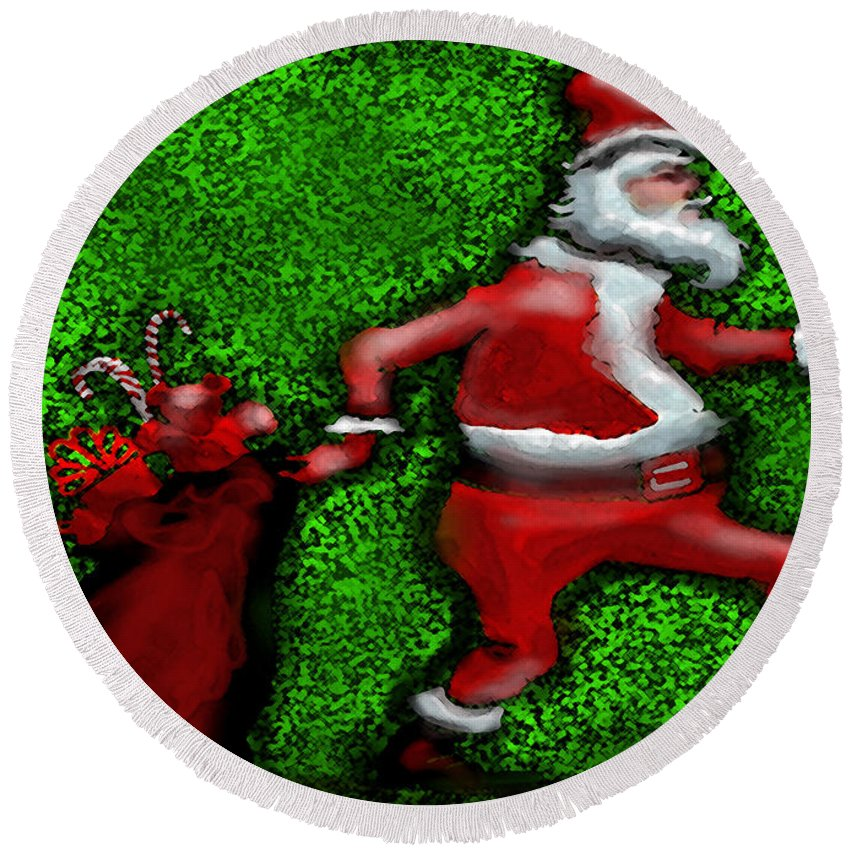 Santa Round Beach Towel featuring the digital art Santa Claus by Kevin Middleton