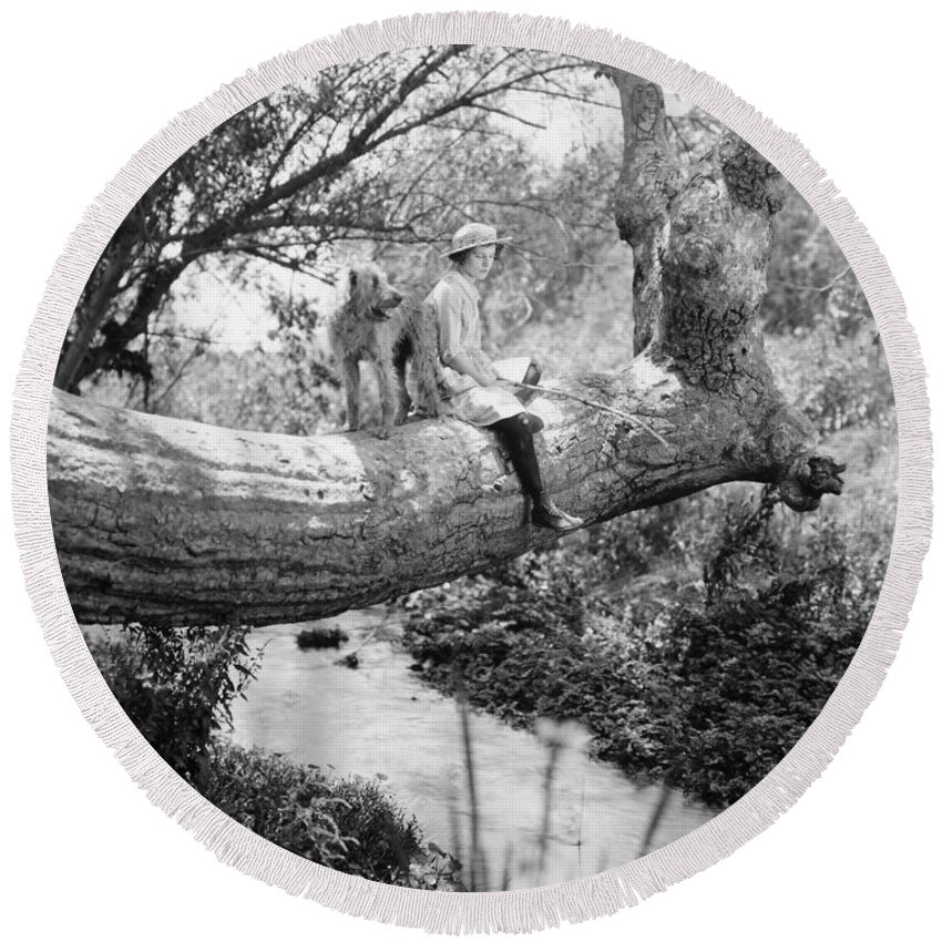 -ec33- Round Beach Towel featuring the photograph Silent Film Still: Animal by Granger