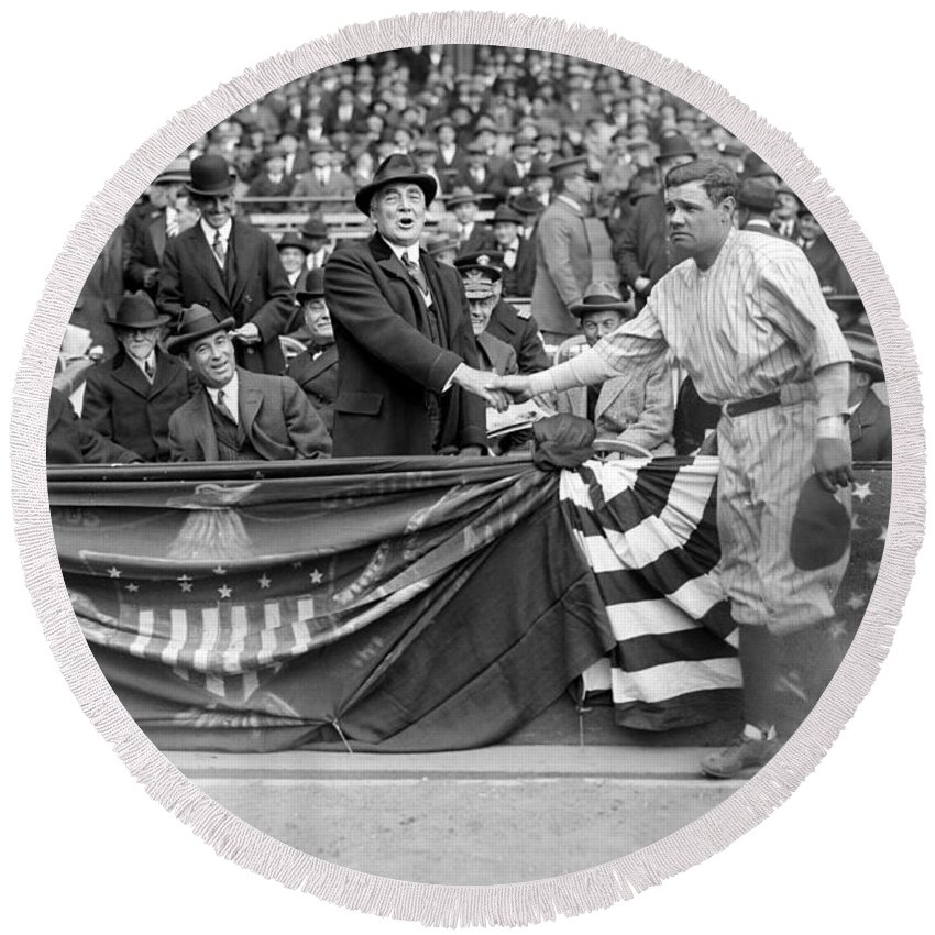 1923 Round Beach Towel featuring the photograph George H. Ruth (1895-1948) by Granger