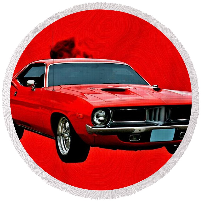 Dodge Round Beach Towel featuring the digital art 440 Charger by Tommy Anderson