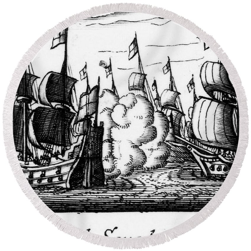 1588 Round Beach Towel featuring the photograph Spanish Armada, 1588 by Granger