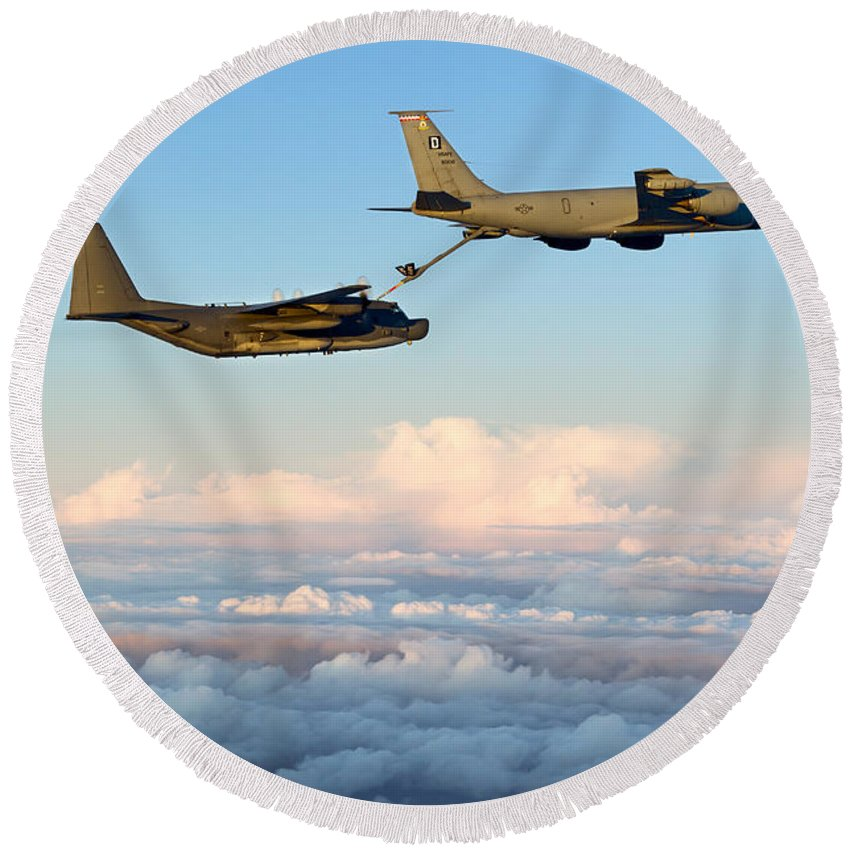 Kc-135 Round Beach Towel featuring the photograph A Mc-130h Combat Talon II by Gert Kromhout