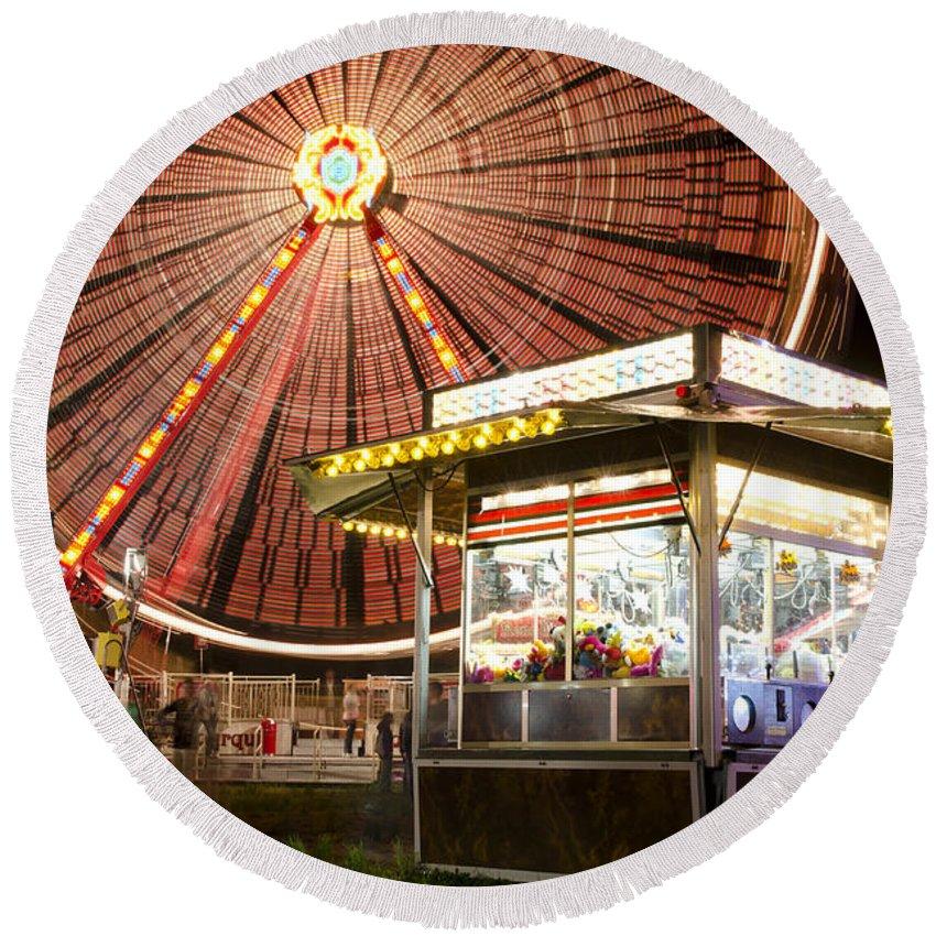 Amusement Park Round Beach Towel featuring the photograph Amusement Park by Mats Silvan