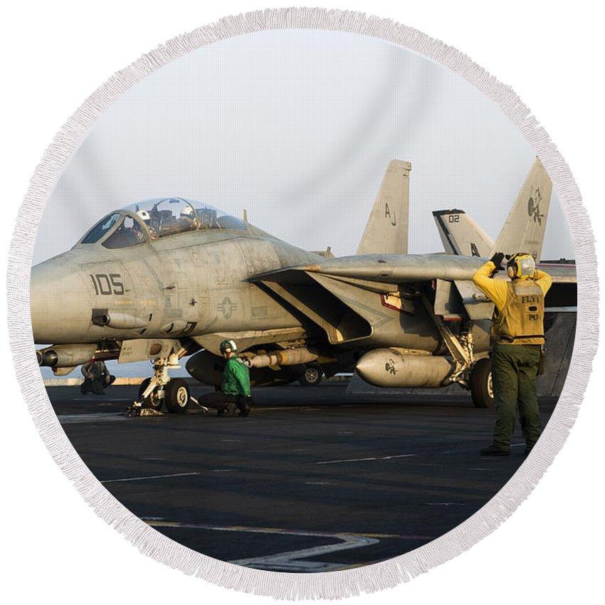 Grumman Round Beach Towel featuring the photograph An F-14d Tomcat In Launch Position by Gert Kromhout