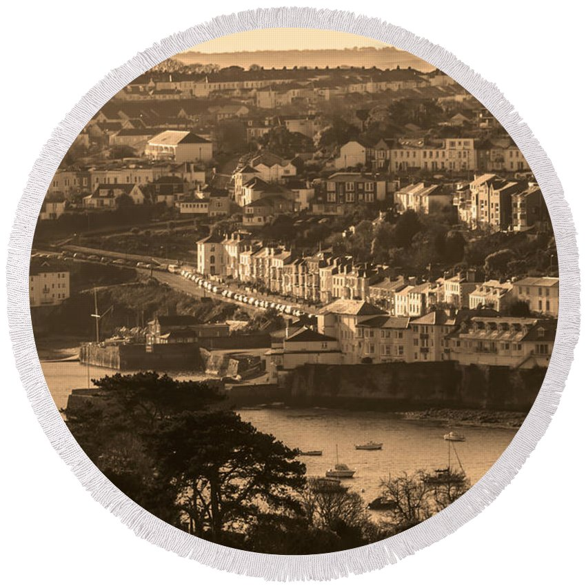 Falmouth Round Beach Towel featuring the photograph Falmouth Harbour by Brian Roscorla