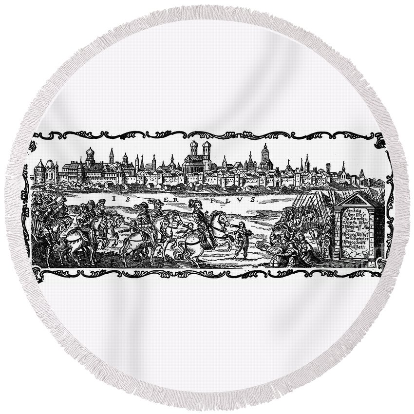 17th Century Round Beach Towel featuring the photograph Gustavus II (1594-1632) by Granger