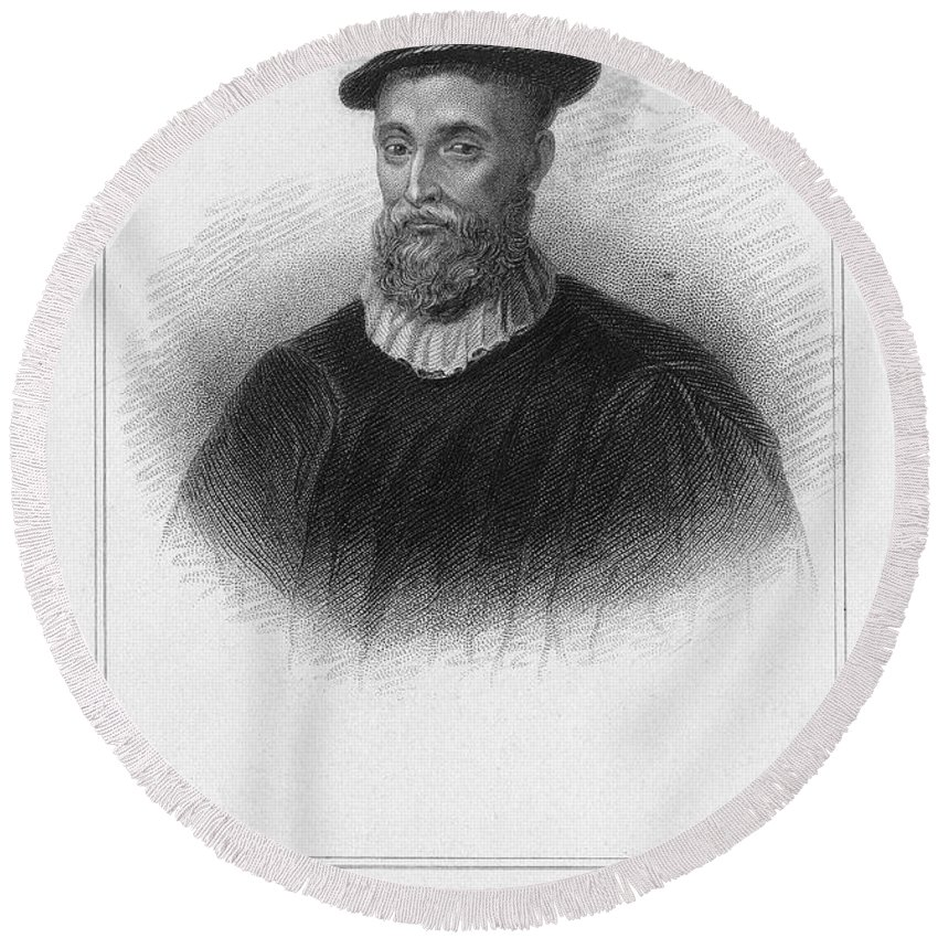 16th Century Round Beach Towel featuring the photograph John Knox (1513-1572) by Granger