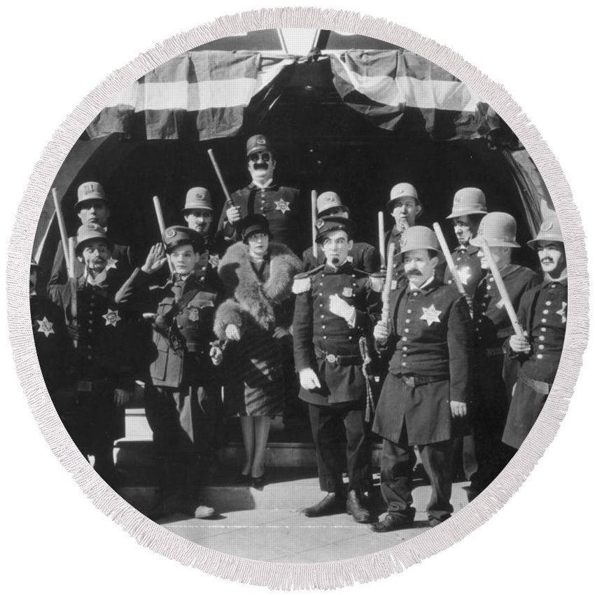 1920s Round Beach Towel featuring the photograph Keystone Kops by Granger