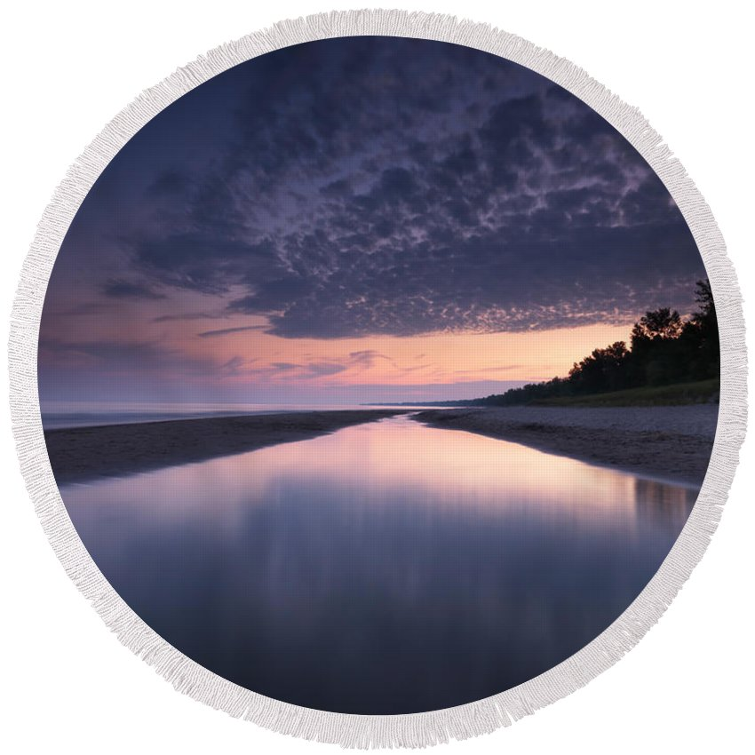 Beach Round Beach Towel featuring the photograph Long Point Beach by Maxim Images Prints