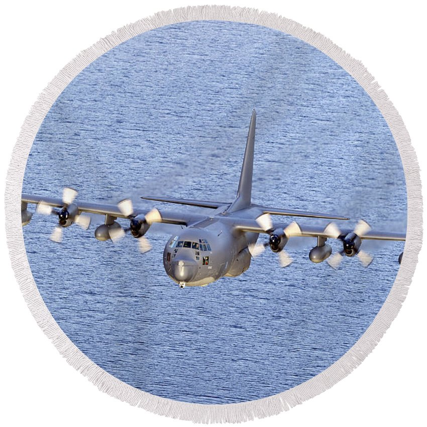 Transportation Round Beach Towel featuring the photograph Mc-130p Combat Shadow In Flight by Gert Kromhout