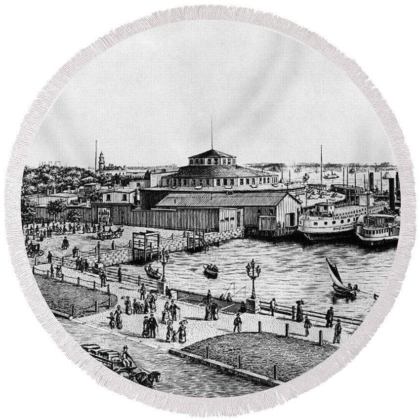 1885 Round Beach Towel featuring the photograph New York: Castle Garden by Granger