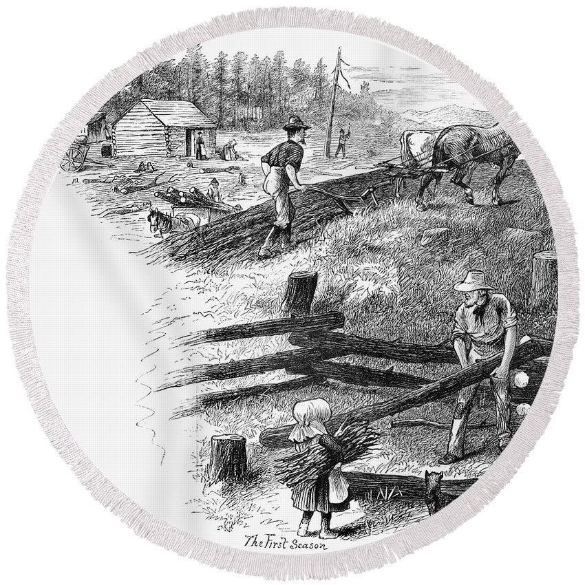 1878 Round Beach Towel featuring the photograph Oregon Trail Emigrants by Granger