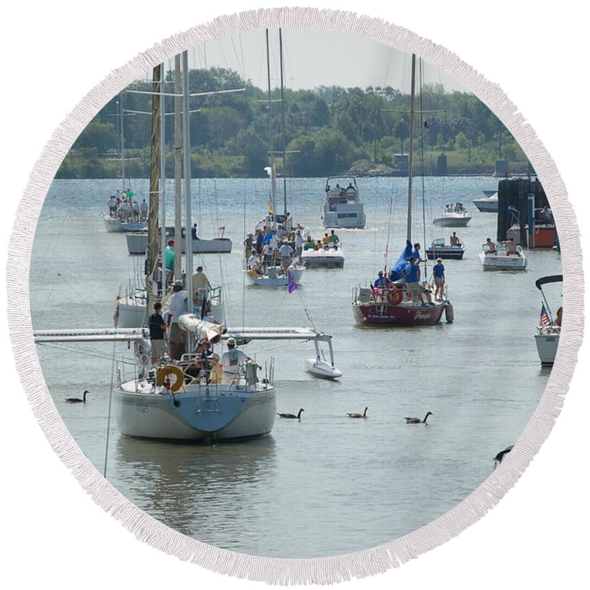 Sailboats Round Beach Towel featuring the photograph Port Huron To Mackinac Race by Randy J Heath