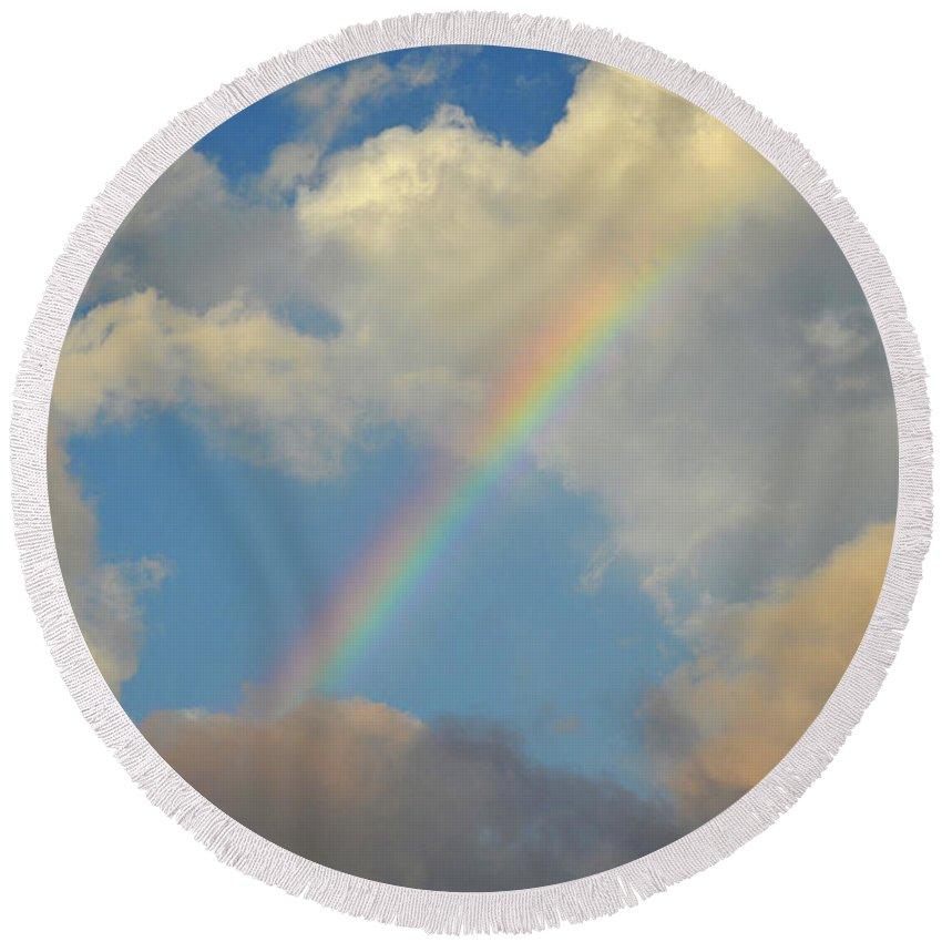 Rainbow Round Beach Towel featuring the photograph 5- Rainbow In Paradise by Joseph Keane