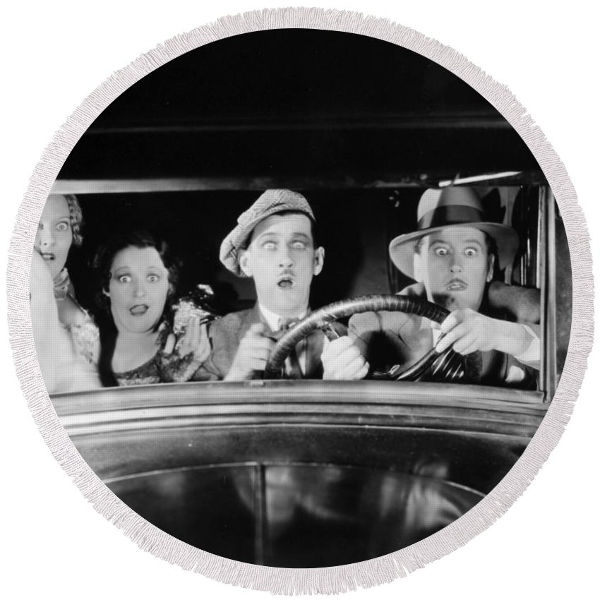 -transportation: Automobiles- Round Beach Towel featuring the photograph Silent Film: Automobiles by Granger