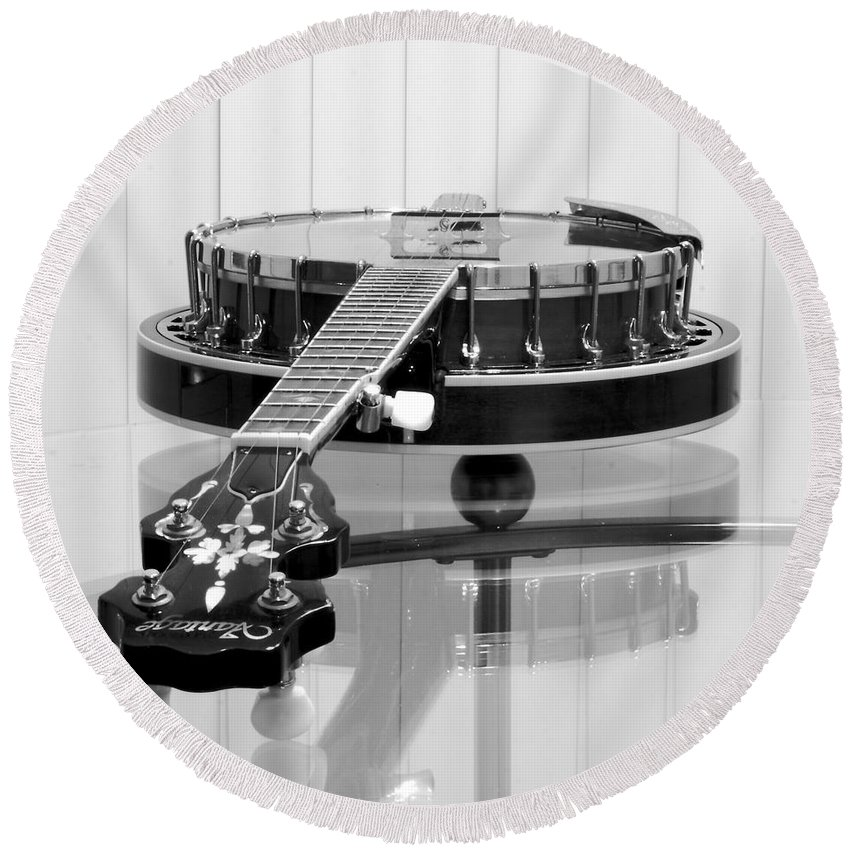 Banjo Round Beach Towel featuring the photograph 5-string On Glass by Robert Frederick