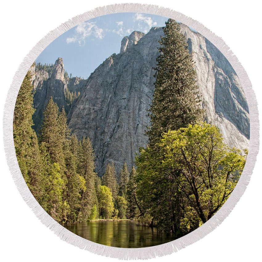 California Round Beach Towel featuring the digital art Yosemite by Carol Ailles