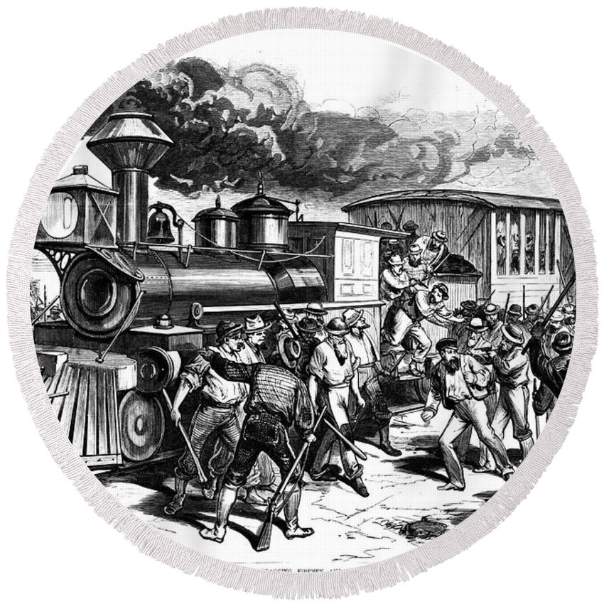 1877 Round Beach Towel featuring the photograph Great Railroad Strike, 1877 by Granger