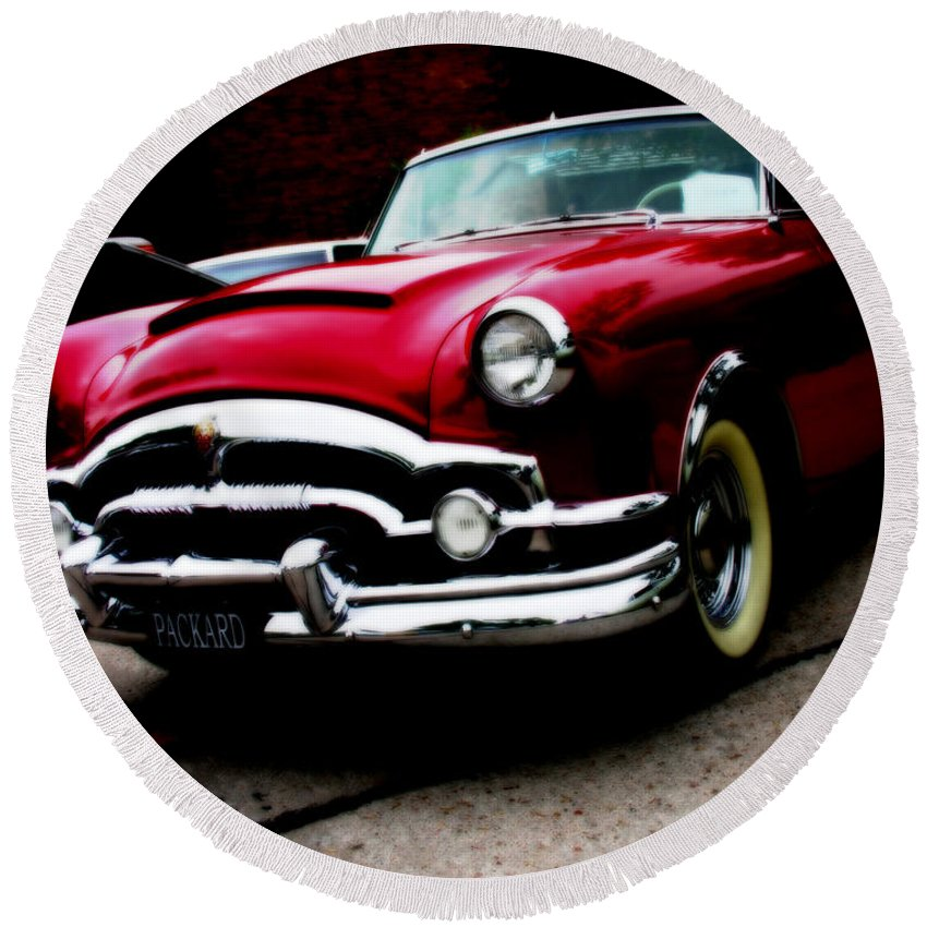Packard Round Beach Towel featuring the photograph 53 Packard Caribbean Convertible Coupe by Adam Vance