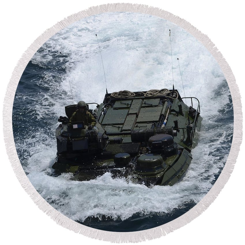 Amphibious Assault Vehicles Round Beach Towel featuring the photograph An Amphibious Assault Vehicle by Stocktrek Images
