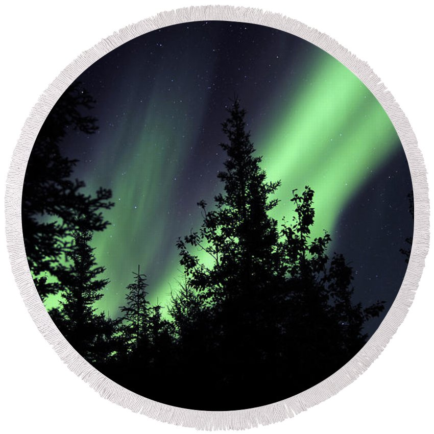 Yellowknife Round Beach Towel featuring the photograph Aurora Borealis Above The Trees by Jiri Hermann
