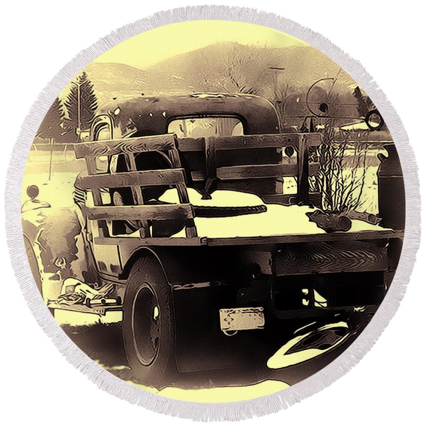 Truck Round Beach Towel featuring the photograph Before The Storm by Terry Fiala