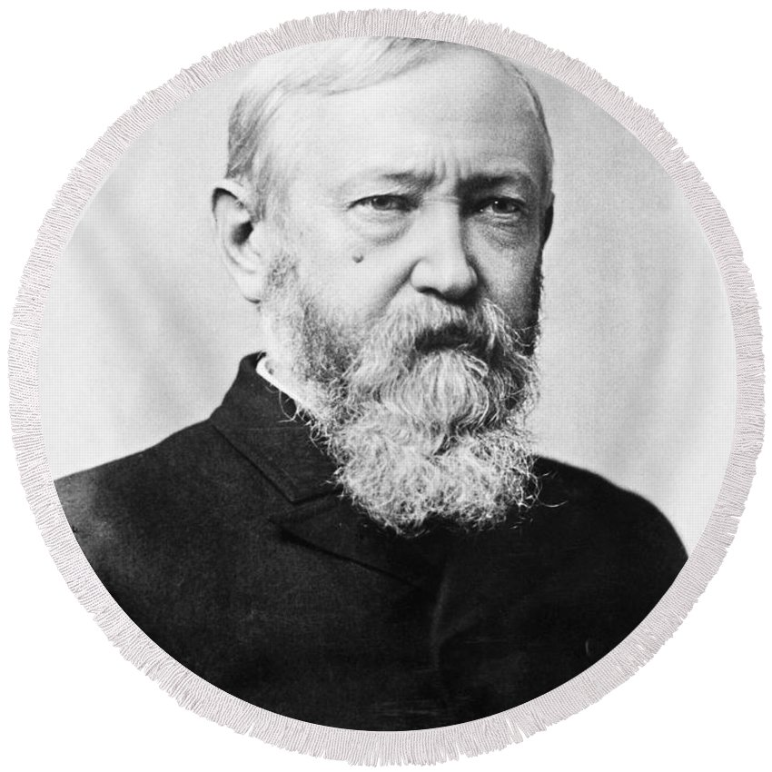 1888 Round Beach Towel featuring the photograph Benjamin Harrison by Granger