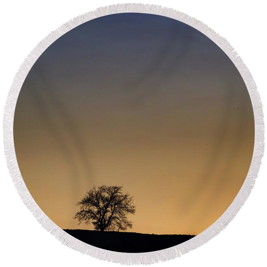 Tree Round Beach Towel featuring the photograph Lonely Tree by Mats Silvan