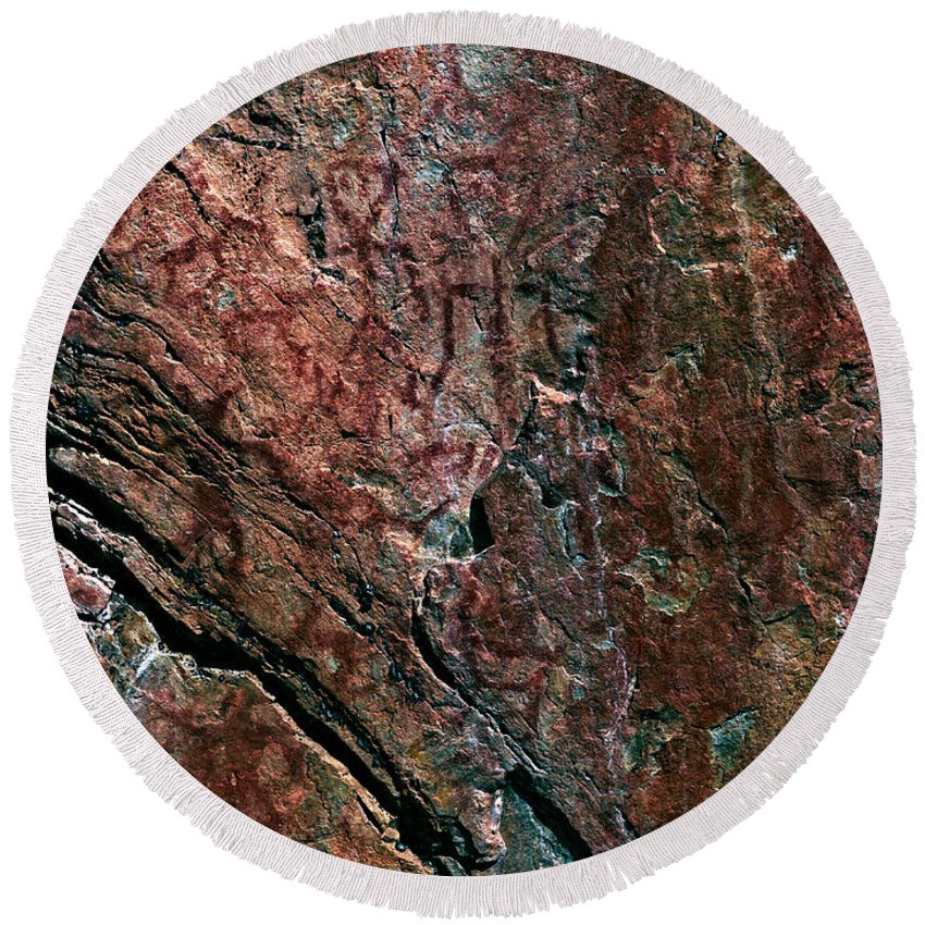 Lehtokukka Round Beach Towel featuring the photograph Painted Rocks At Hossa With Stone Age Paintings by Jouko Lehto