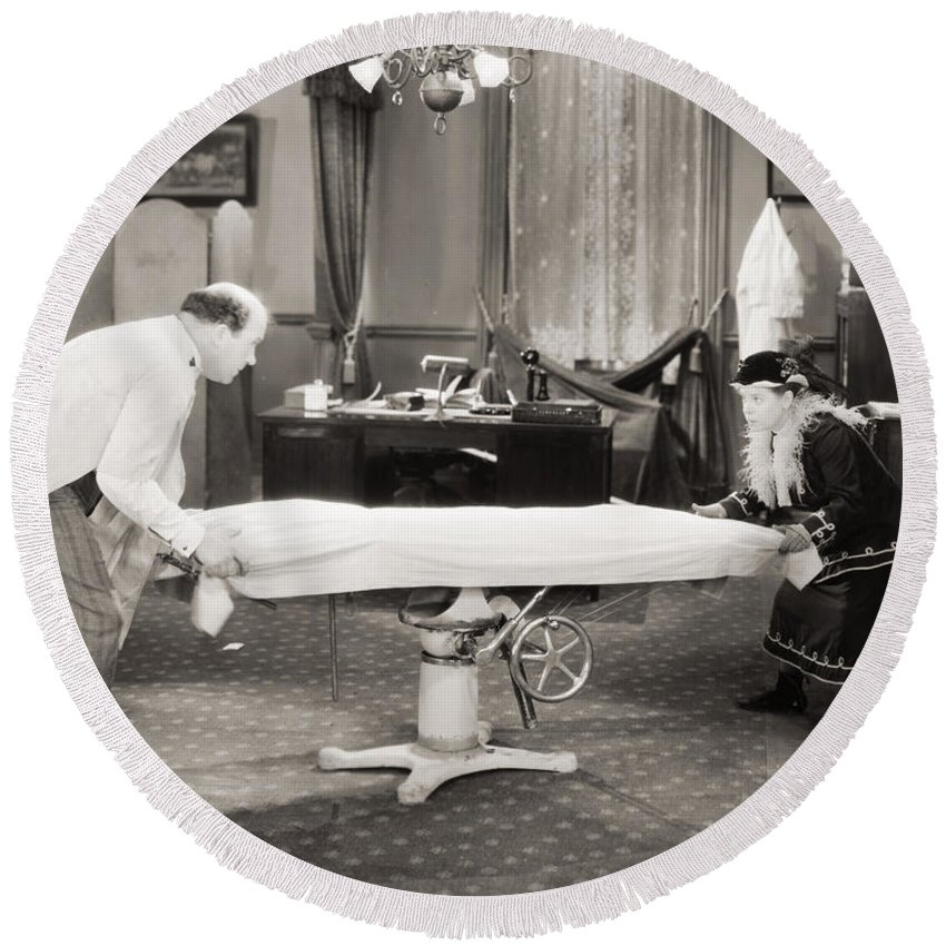 -doctors & Illness- Round Beach Towel featuring the photograph Silent Film Still: Doctor by Granger