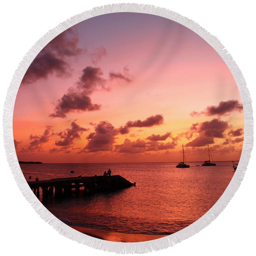 Sunset Round Beach Towel featuring the photograph Sunset by Catie Canetti