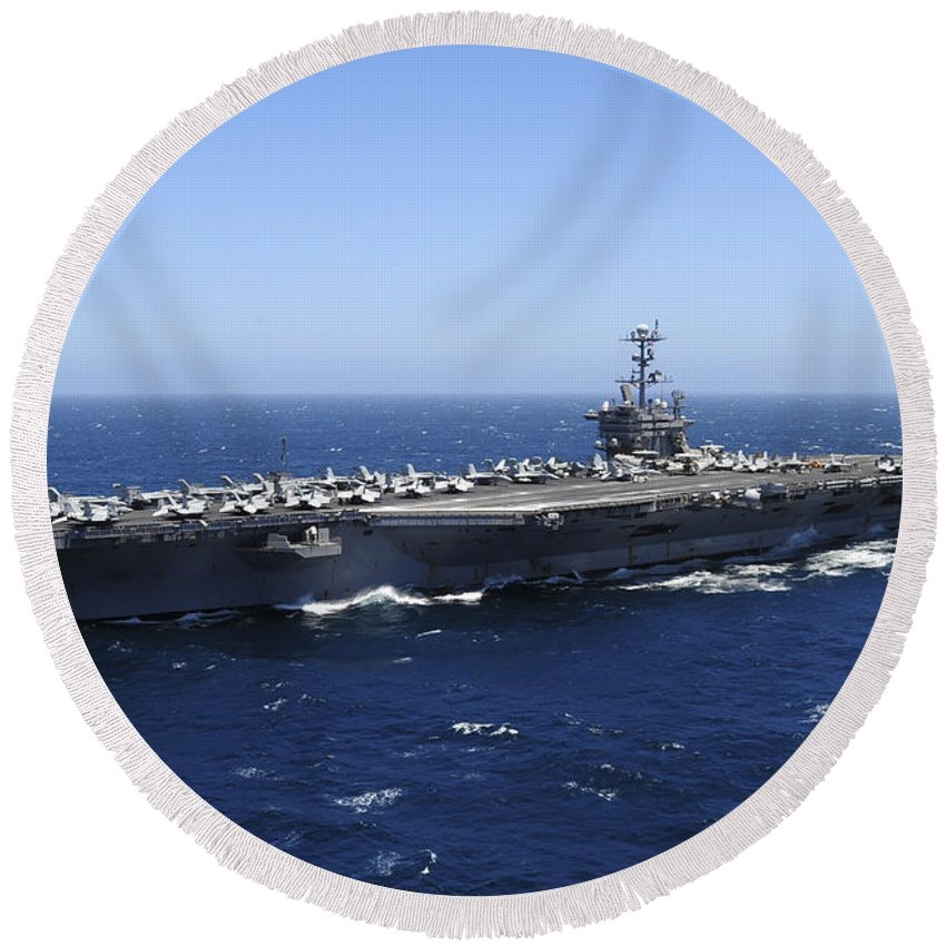 Aircraft Carrier Round Beach Towel featuring the photograph The Nimitz-class Aircraft Carrier Uss by Stocktrek Images