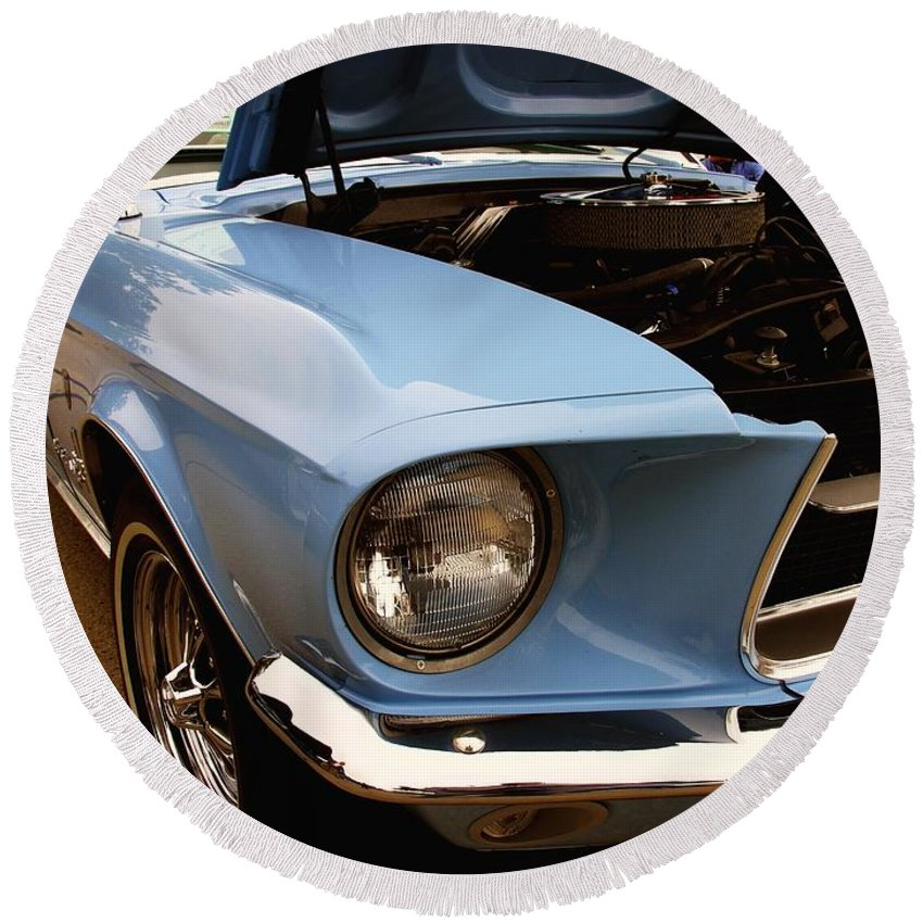 1967 Round Beach Towel featuring the photograph 67 Mustang Hcs by Adam Vance