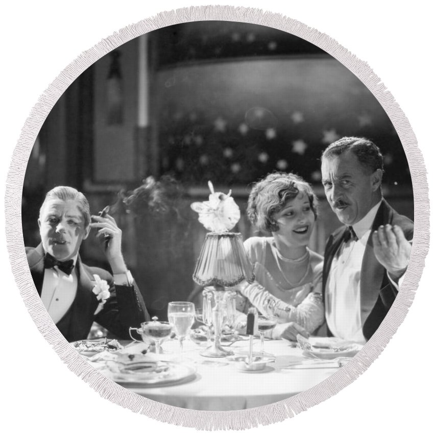 -eating & Drinking- Round Beach Towel featuring the photograph Film Still: Eating & Drinking by Granger