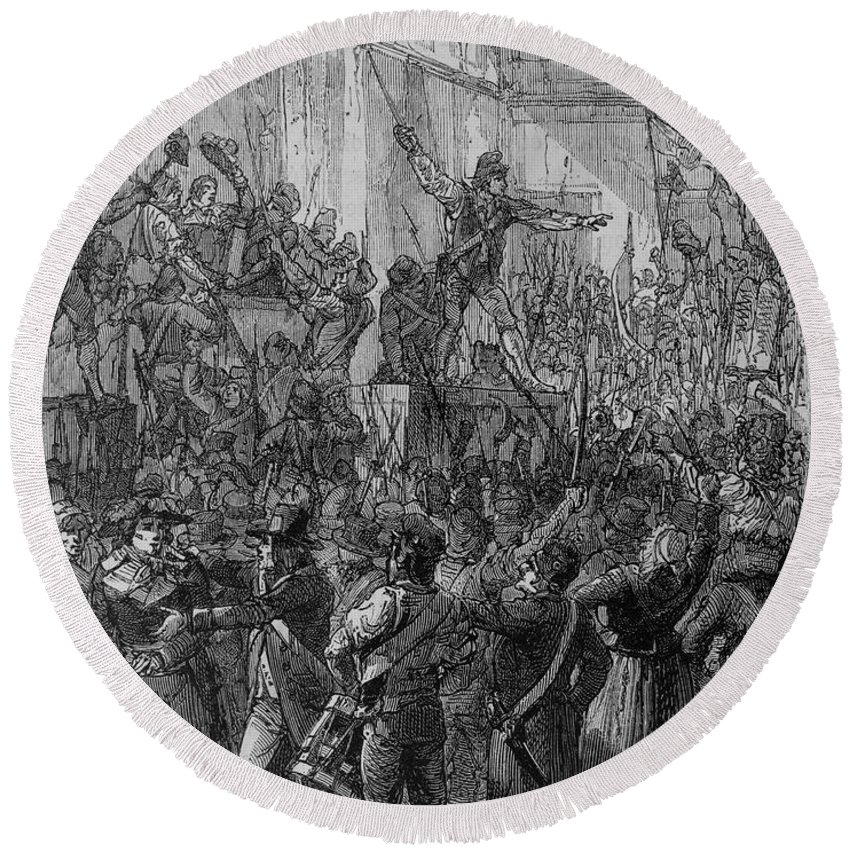1792 Round Beach Towel featuring the photograph French Revolution, 1792 by Granger