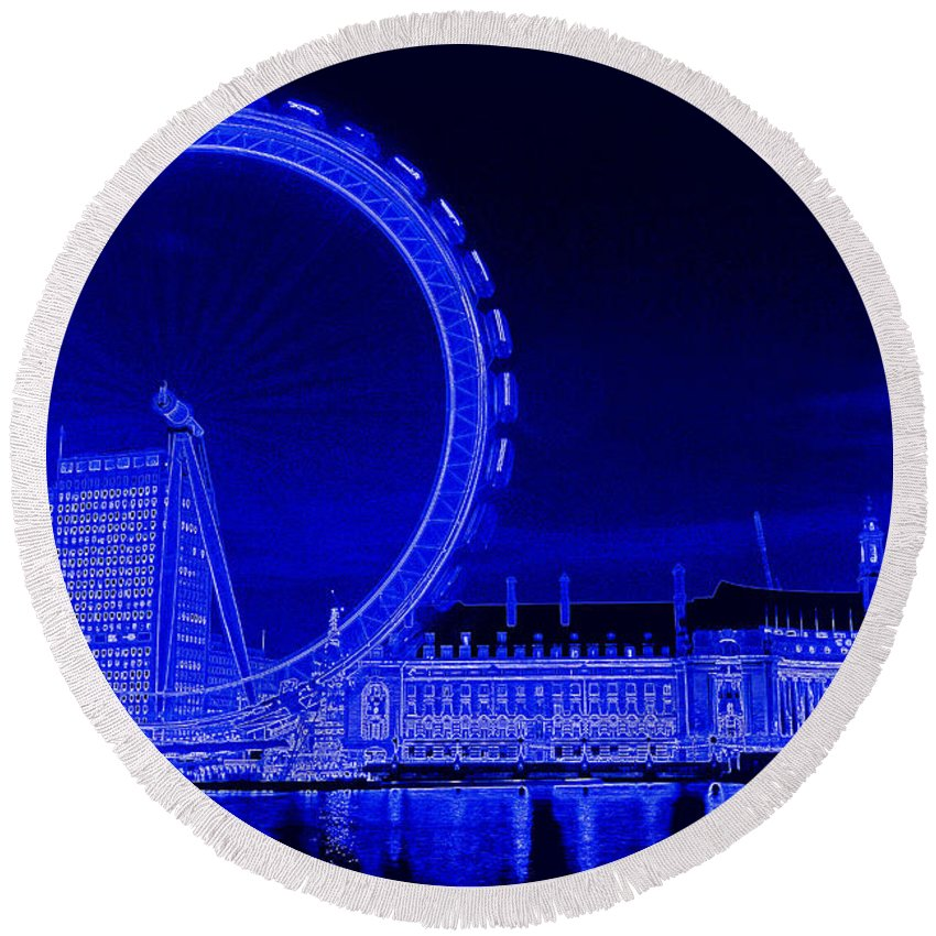 London Round Beach Towel featuring the digital art London Eye Art by David Pyatt