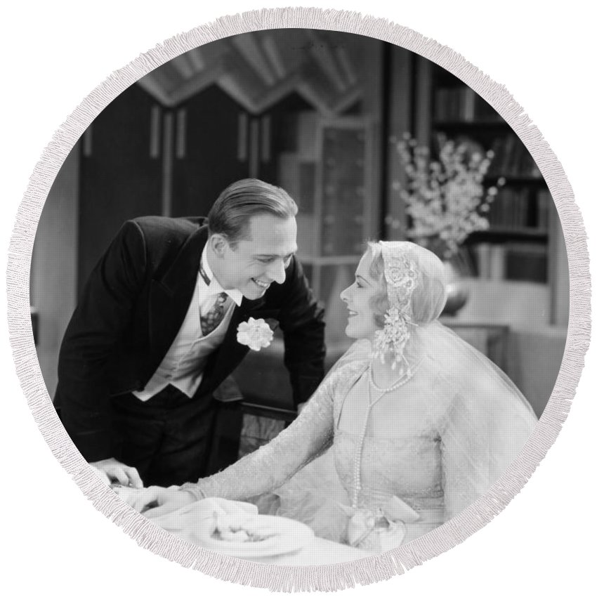 -weddings & Gowns- Round Beach Towel featuring the photograph Silent Film Still: Wedding by Granger