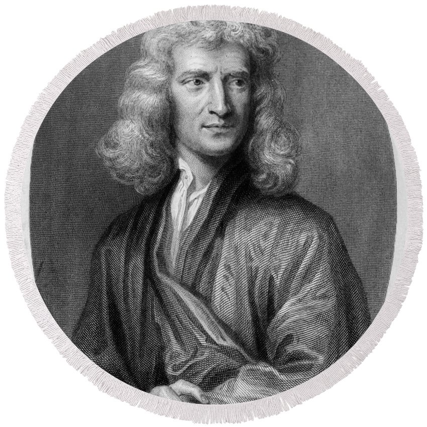 18th Century Round Beach Towel featuring the photograph Sir Isaac Newton (1643-1727) by Granger