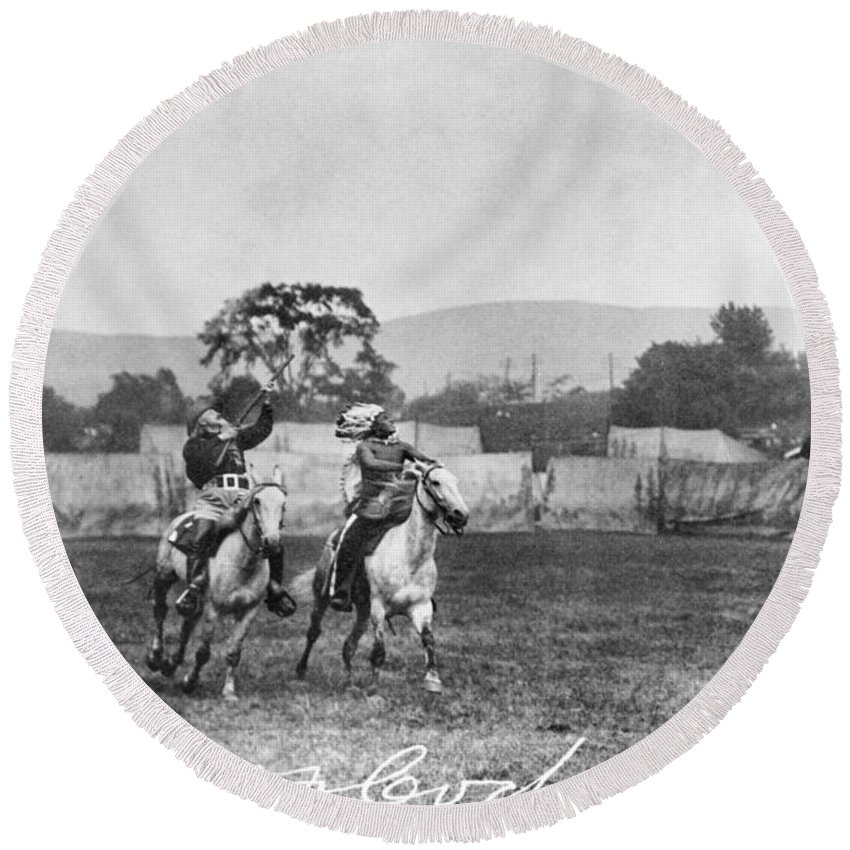 1907 Round Beach Towel featuring the photograph William F. Cody (1846-1917) by Granger