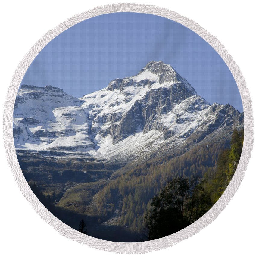 Mountain Round Beach Towel featuring the photograph Snow-capped Mountain by Mats Silvan