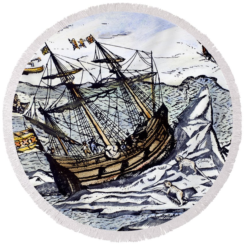 1590s Round Beach Towel featuring the photograph Willem Barents (c1550-1597) by Granger