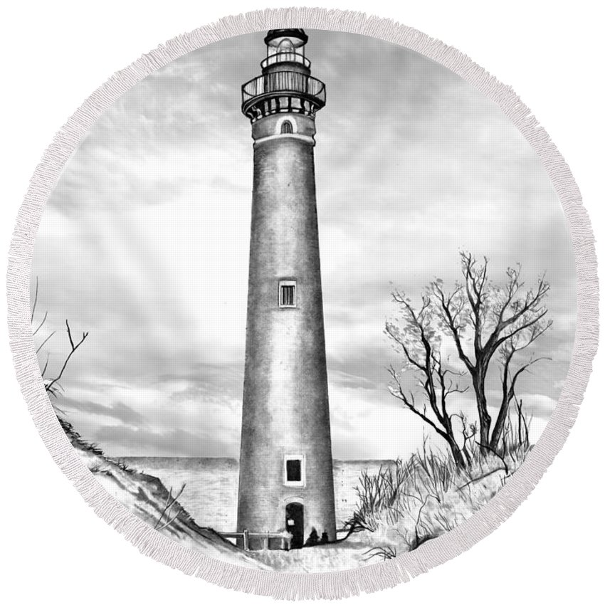 Little Point Sable Lighthouse Michigan Round Beach Towel featuring the drawing Little Point Sable by Bill Richards